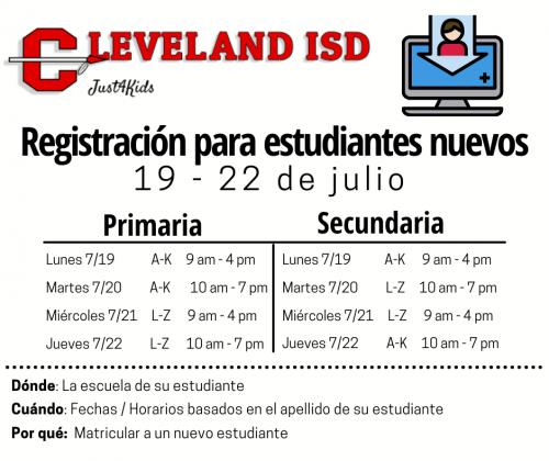 New Student Registration July 2021 Spanish