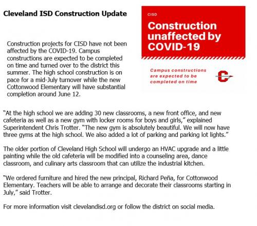 CISD Construction projects unaffected by COVID-19