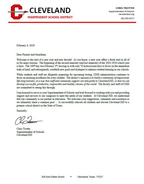 Letter from Superintendent of School Chris Trotter Mid-School Year