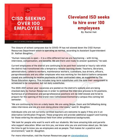 CISD seeks to hire over 100 employees
