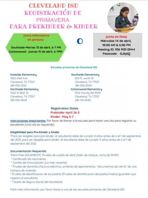 Pre-K and Kinder Registration Spanish