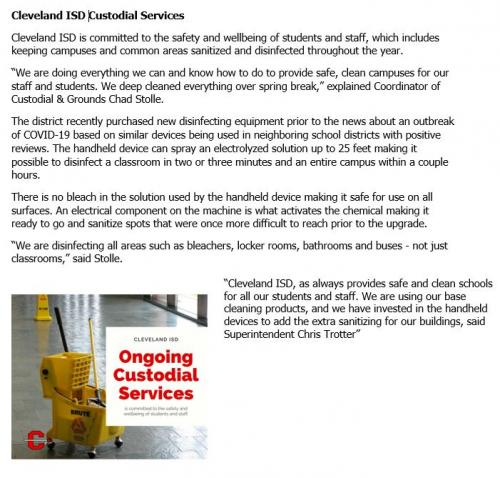 Cleveland ISD Custodial Services during COVID-19