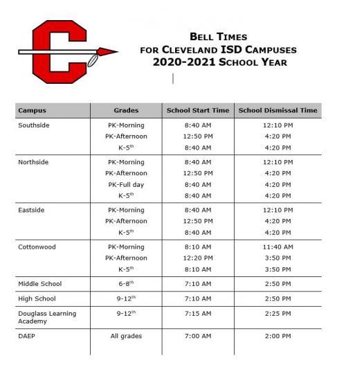 CISD 2020-2021 Bell Schedule