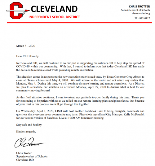 Letter from Superintendent Trotter concerning CISD Schools closing until May 4th