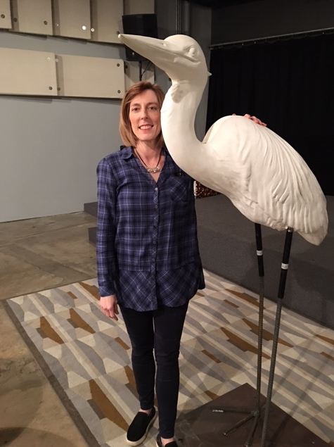Michelle Olinde with heron model