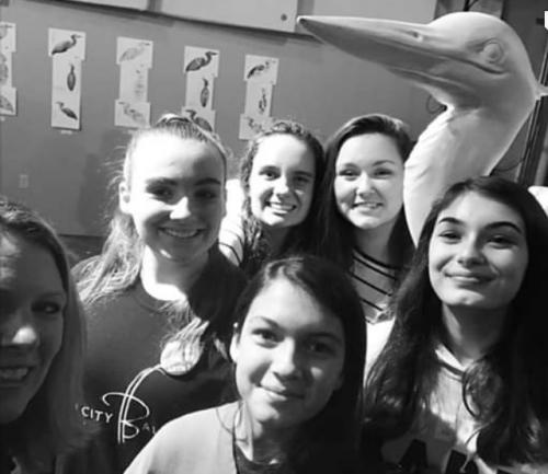 Compton students with heron model