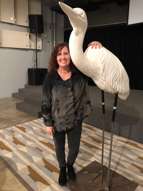 Picture of Gretchen Lengefeld with Heron model