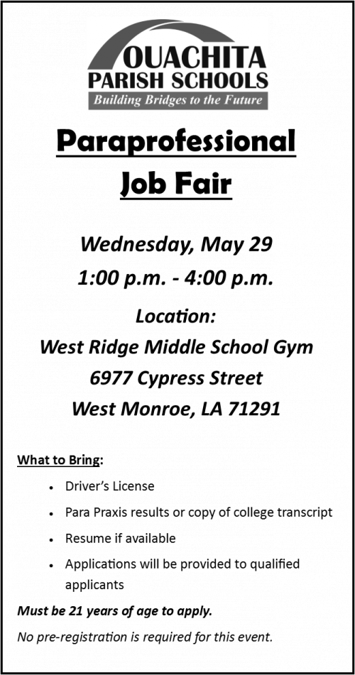 Paraprofessional Job Fair Announcement