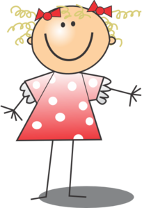 girl wearing polka dot dress clip art