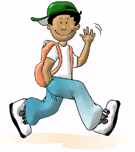running to school clip art