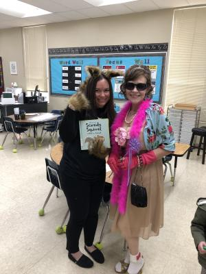 Book Character Day:  Mrs. Reeves and Mrs. Brister dress up as Scaredy Squirrel and Fancy Nancy