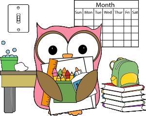 owl holds craft supplies stands next to calendar