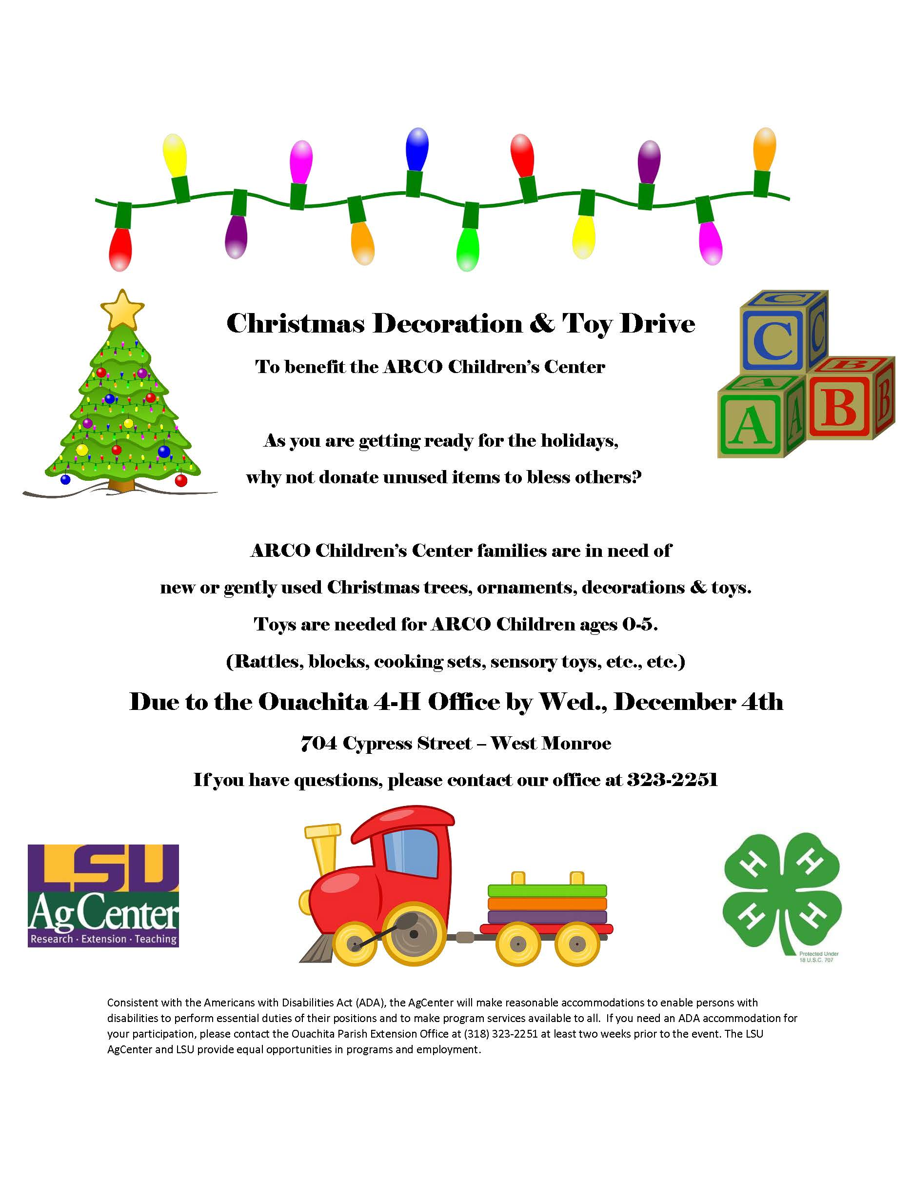 4-H Decoration and Toy Drive