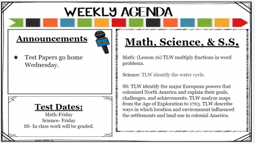 math, science, and ss agenda for week