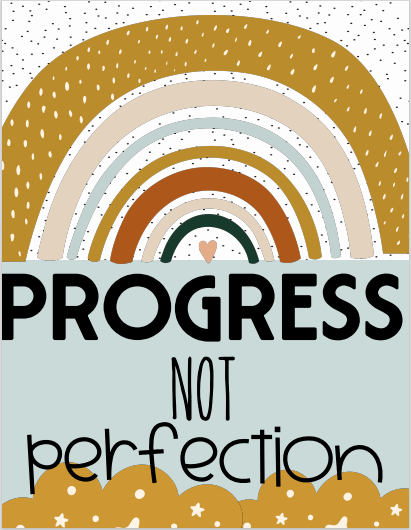 Boho Rainbow Progress Not Perfection