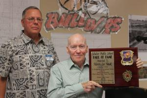Mr. Richard Terrill and Marvin Lee Hawk with his plaque at the Alumni Banquet, June, 2015.