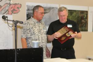 Mr. Richard Terrill presenting John Damon Hawk, Class of 1961 with his Hall of Fame plaque at the Alumni Banquet in June, 2015.