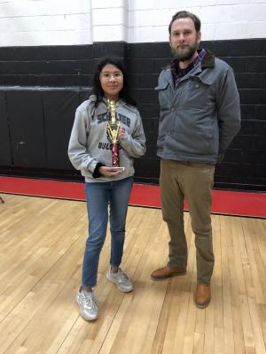 Spelling Bee Champion, Kera Starr pictured with Mr. Fox