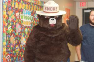 Smokey the Bear visits the elementary