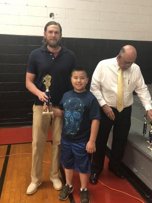 1st Place Talent Show Alex Long pictured with Mr. Fox
