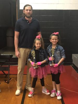 2nd Place Talent Show, Wynter Bain & Bella Waters pictued with Mr. Fox.