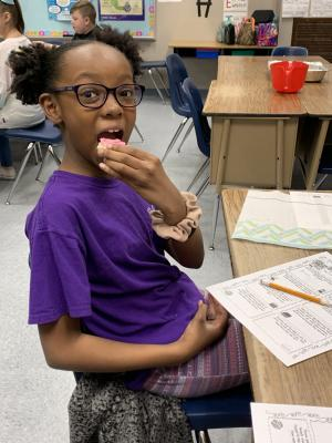 Jadyn worked up an appetite when measuring.
