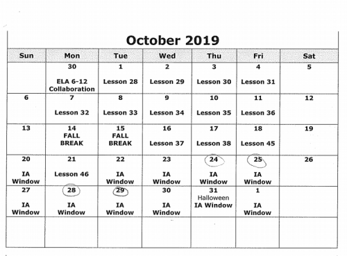Scope and Sequence October