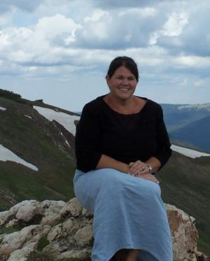 Mrs. Patterson visiting the Rocky Mountains.