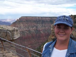 Mrs. Patterson visiting the Grand Canyon.