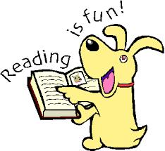 Dog looking at book saying