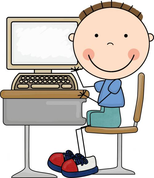 male student sitting at a computer