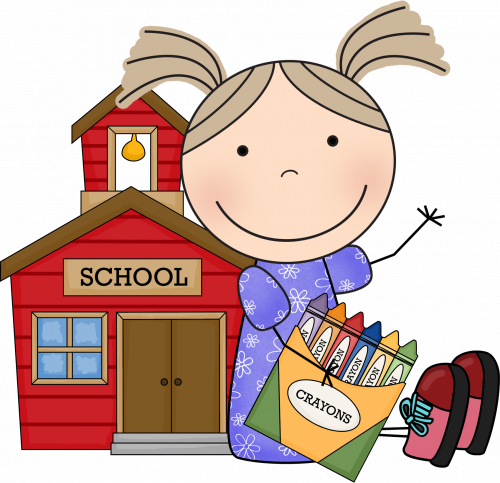 Picture of female student with school building and crayons