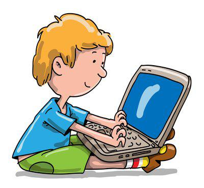 Picture of a student at a computer.