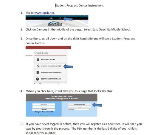 Student Progress Instructions