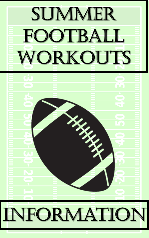 Green Football Field with a Football in the middle. Text reads summer football workouts information.