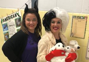 Mrs. Bratton as Maleficent & Mrs. McQuillin as Cruella - Red Ribbon Week 2018