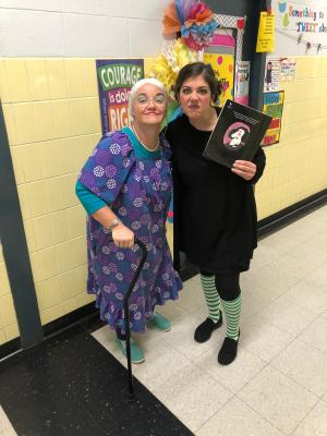 Mrs. Bratton as the Old Lady Who Swallowed a Fly & Mrs. McQuillin as Viola Swamp - Red Ribbon Week 2018