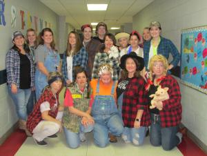 The Pinecrest Faculty & Staff on Hillbilly Day - Red Ribbon Week 2018