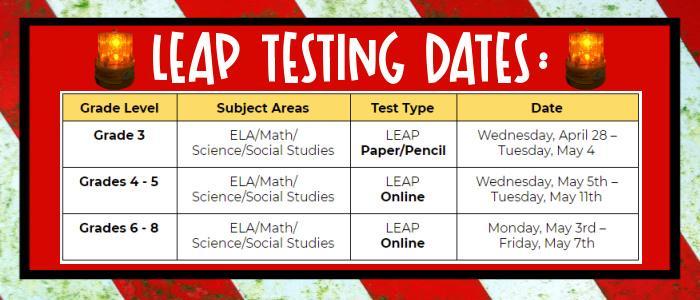 LEAP TESTING DATES
