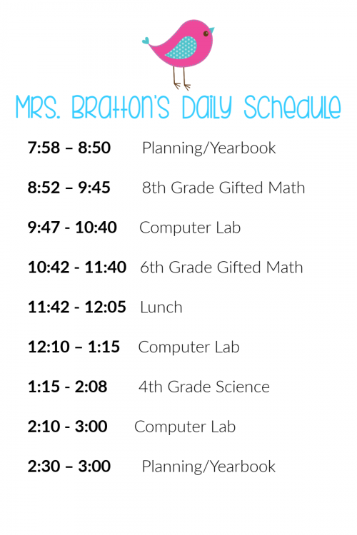 Mrs. Bratton's 2019-2020 Daily Schedule