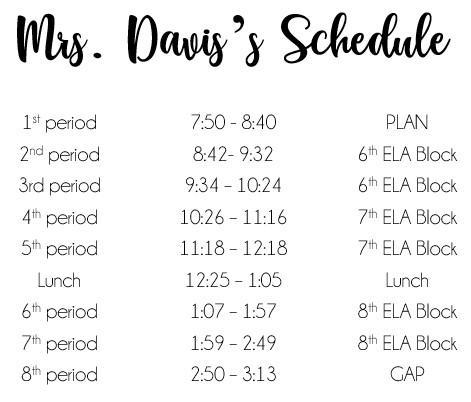 Mrs. Davis's Schedule