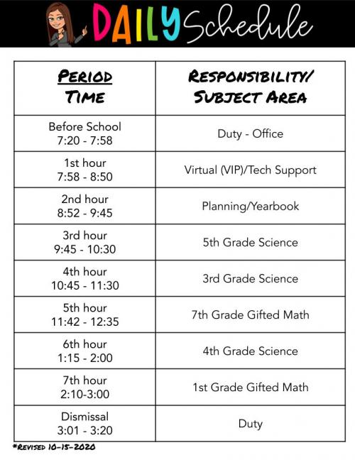 Daily Schedule 2020-2021
