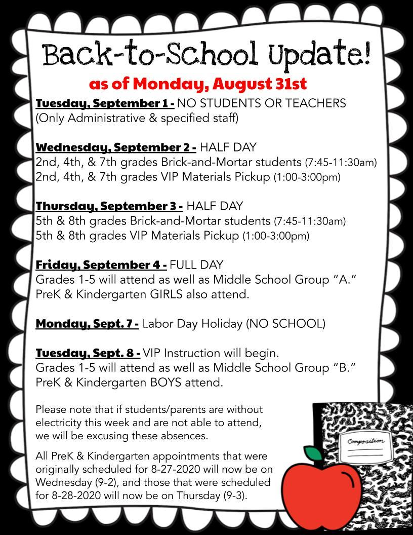 Back-to-School Update 8-31-2020 for VIP