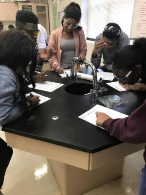 Students observing the results of their bacteria cultures!