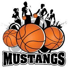 boys holding basketballs with mustangs written in big letters