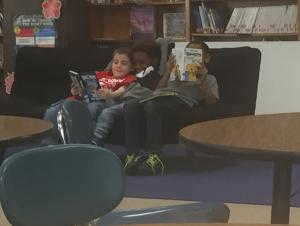 Reading with friends is how we relax during the school day