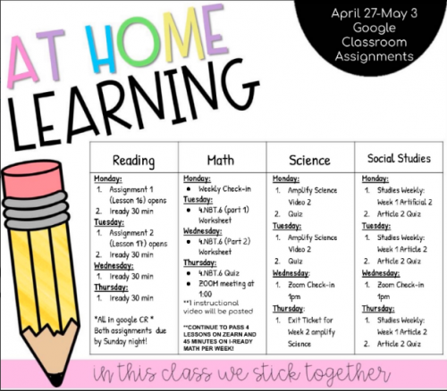 schedule april 27-may 3