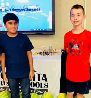 Little Bits Soccer Goal Presentation by SES 5th Grade students at Parish Back-To-School In-Service