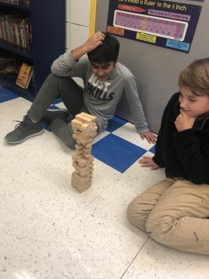 Intense game of Jenga at the Christmas Party