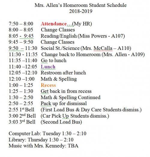 My Homeroom Schedule 2018-19